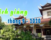 Lịch thuyết giảng tháng 9 – 2020