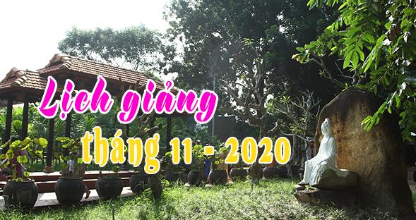 Lịch thuyết giảng tháng 11 – 2020