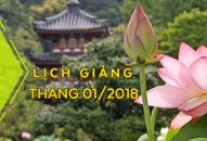 Lịch thuyết giảng tháng 01 – 2018